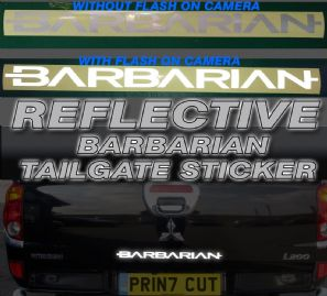 Mitsubishi L200 Barbarian REFLECTIVE Rear Tailgate decal sticker, Warrior,Trojan